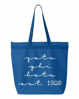 Zeta Phi Beta New Script Established Tote Bag