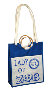 Zeta Phi Beta Pocket Jute Shopping Bag