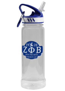 Zeta Phi Beta Water Bottle W/Carabiner Hook