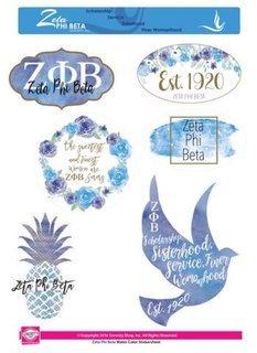 Zeta Phi Beta Water Color Stickers
