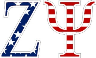 "Zeta Psi American Flag Greek Letter Sticker - 2.5"" Tall"
