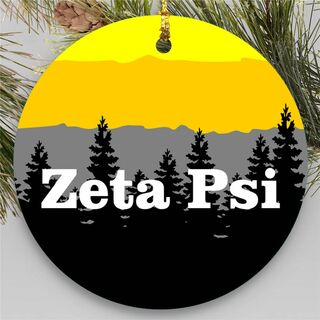 Zeta Psi Christmas Mountains Round Ornaments