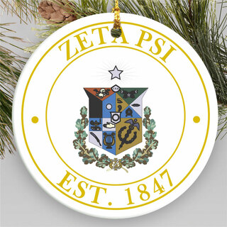 Zeta Psi Circle Crest Round Ornaments