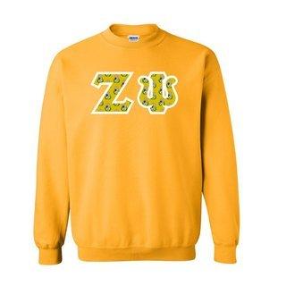 Zeta Psi Fraternity Crest - Shield Twill Letter Crewneck Sweatshirt