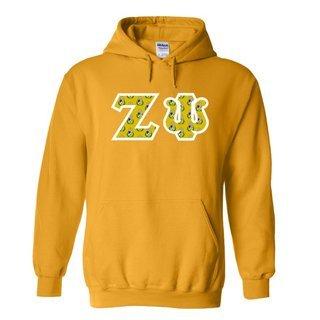 Zeta Psi Fraternity Crest - Shield Twill Letter Hooded Sweatshirt