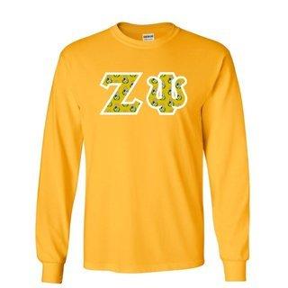 Zeta Psi Fraternity Crest - Shield Twill Letter Longsleeve Tee