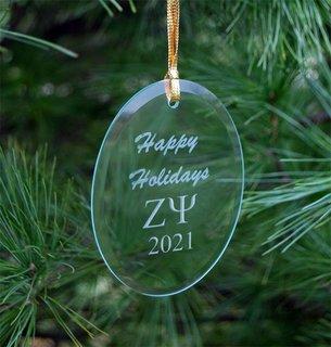 Zeta Psi Holiday Glass Oval Ornaments