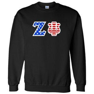 Zeta Psi Greek Letter American Flag Crewneck