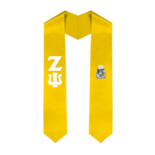 Zeta Psi Greek Lettered Graduation Sash Stole With Crest