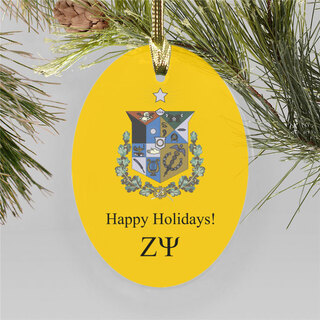 Zeta Psi Holiday Color Crest - Shield Ornament