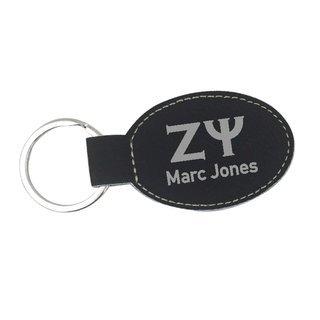 Zeta Psi Leatherette Oval Keychain