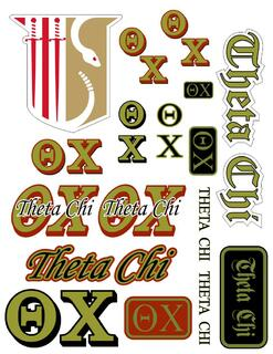 Theta Chi Multi Greek Decal Sticker Sheet