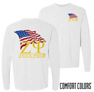 Zeta Psi Patriot Long Sleeve T-shirt - Comfort Colors