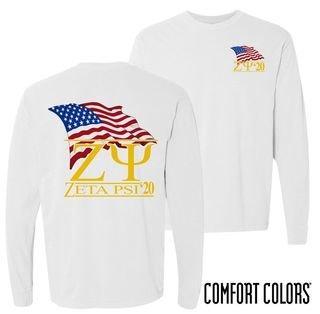 Zeta Psi Patriot Long Sleeve T-shirt - Comfort Colors