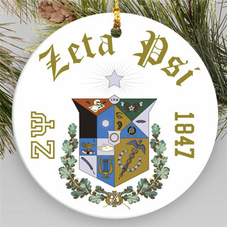 Zeta Psi Round Christmas Shield Ornament