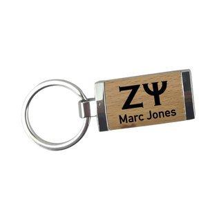 Zeta Psi Silver/Wood Rectangle Keychain