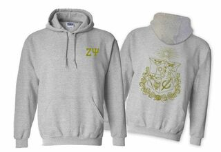 Zeta Psi World Famous Crest - Shield Printed Hooded Sweatshirt- $35!