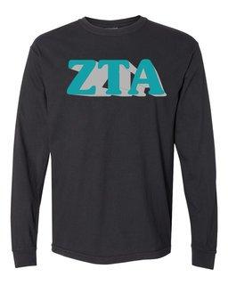 Zeta Tau Alpha 3 D Greek Long Sleeve T-Shirt - Comfort Colors