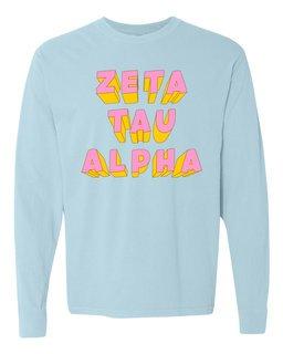 Zeta Tau Alpha 3Delightful Long Sleeve T-Shirt - Comfort Colors