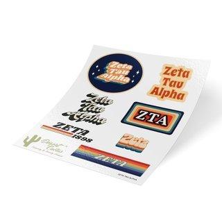 Zeta Tau Alpha 70's Sticker Sheet