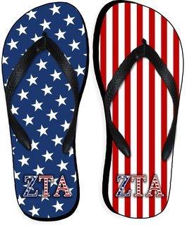 Zeta Tau Alpha American Flag Flip Flops