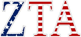 "Zeta Tau Alpha American Flag Greek Letter Sticker - 2.5"" Tall"