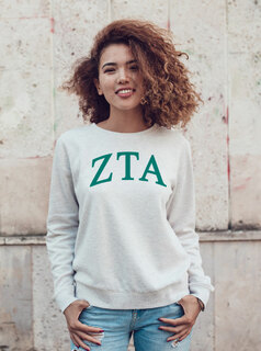 Zeta Tau Alpha Arched Greek Lettered Crewneck Sweatshirt