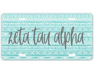 Zeta Tau Alpha Aztec License Plate