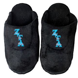 Zeta Tau Alpha Black Solid Letter Slipper