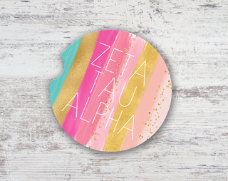 Zeta Tau Alpha Bright Stripes Sandstone Car Cup Holder Coaster