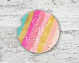 Zeta Tau Alpha Bright Stripes Sandstone Car Cup Holder Coaster