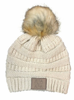 Zeta Tau Alpha CC Beanie with Faux Fur Pom