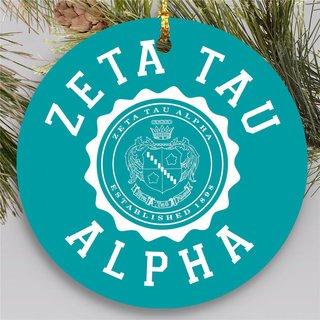 Zeta Tau Alpha Round Christmas Shield Ornament