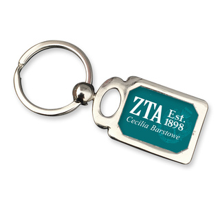 Zeta Tau Alpha Chrome Crest Key Chain