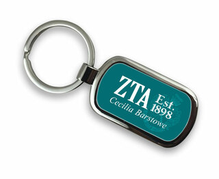 Zeta Tau Alpha Chrome Crest - Shield Key Chain