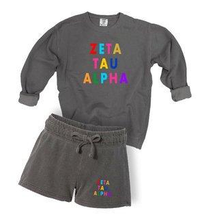 Zeta Tau Alpha Comfort Colors Crew and Short Set