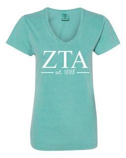 Zeta Tau Alpha Comfort Colors Custom V-Neck T-Shirt