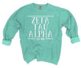 Zeta Tau Alpha Comfort Colors Custom Crewneck Sweatshirt
