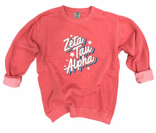 Zeta Tau Alpha Comfort Colors Flashback Crew