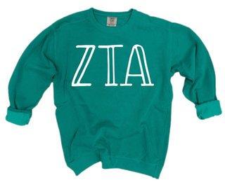 Zeta Tau Alpha Comfort Colors Greek Crewneck Sweatshirt