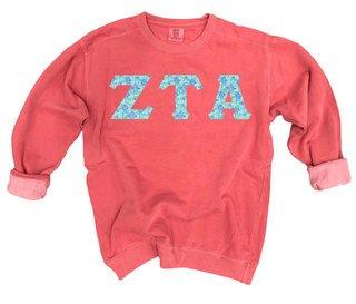 Zeta Tau Alpha Comfort Colors Lettered Crewneck Sweatshirt