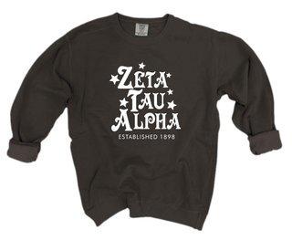 Zeta Tau Alpha Comfort Colors Old School Custom Crew