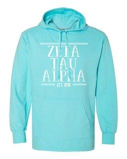 Zeta Tau Alpha Comfort Colors Terry Scuba Neck Custom Hooded Pullover