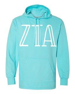 Zeta Tau Alpha Comfort Colors - Terry Scuba Neck Greek Hooded Pullover