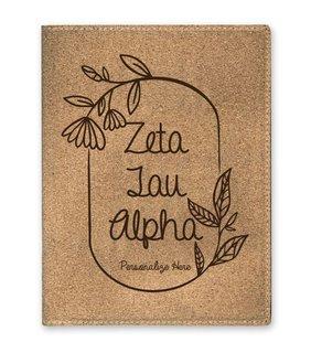 Zeta Tau Alpha Cork Portfolio with Notepad