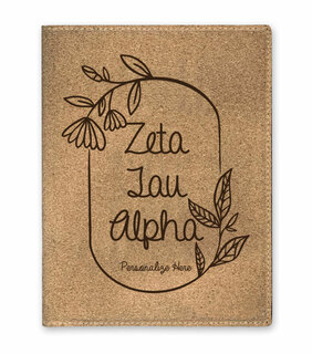 Zeta Tau Alpha Cork Portfolio with Notepad