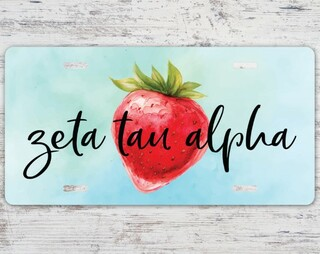 Zeta Tau Alpha Strawberry License Plate