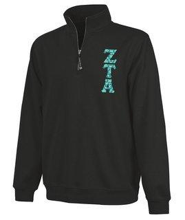 Zeta Tau Alpha Crosswind Quarter Zip Twill Lettered Sweatshirt