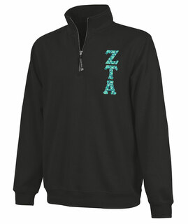 Zeta Tau Alpha Crosswind Quarter Zip Twill Lettered Sweatshirt