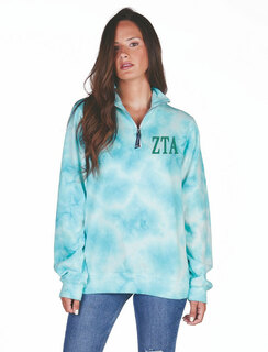 Zeta Tau Alpha Crosswind Tie-Dye Quarter Zip Sweatshirt